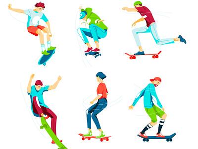 skateboarders skateboards skate street sport colorfull dynamic characters vector youth illustration