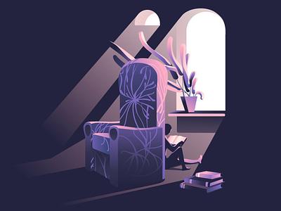 strange room gradient chair room design interior purple plants light reading characters flat vector illustration
