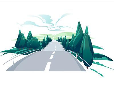 landscape 3 air horizon way weather clouds green hills summer trees road landscape illustration