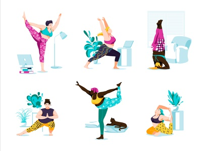 bodypositive yoga bodypositive races lifestyle colorful sport yoga wellness pretty character vector illustration