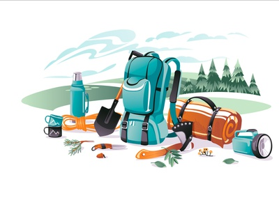 camping survive adveture season landscape objects equipment camping cartoon vector illustration