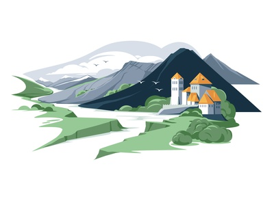 landscape roman style architecture green cold pallete sky river landscape castle mountain vector artwork flat vector illustration