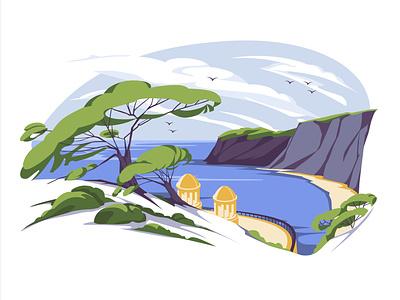 landscape architecture adventure sky italy france vacation south seaside rock flat landscape vector art illustration