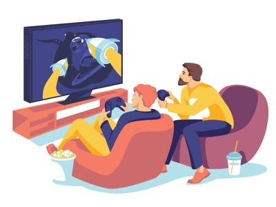 Gamers together monitor obsession hobby play game guys characters flat illustration vector art vector illustration