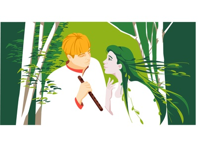 """Lesya Ukrainka """"The Forest Song"""" fairy tale fantasy people green lovestory forest nature heroes characters classic ukraine literature flat vector art illustration"""