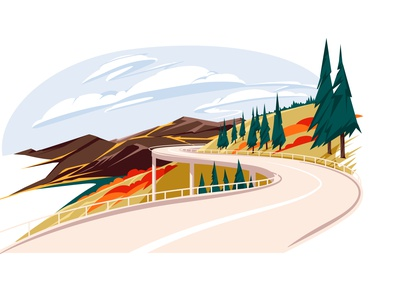 Welcome to autumn! ride route drive way tourism vacancy travel trip season sky mountains hills road fall autumn landscape vector illustration
