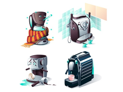 Coffee Makers illustration charactedesign coffe makers emotions art vector artwork vector home appliances