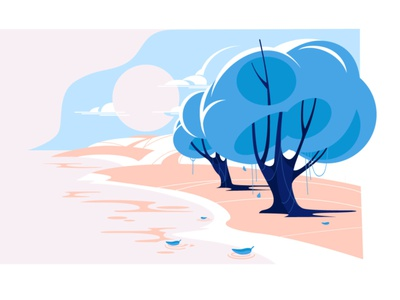 Landscape vector illustration flat illustration harmony morning blue pink landscape ui design vector illustration illustraiton vector art illustration