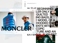 Fashion Concept - Moncler website web type typography landing page fashion white light minimal simple branding