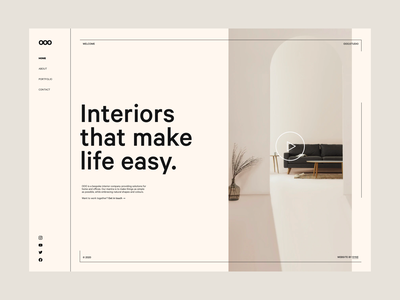 Interior Studio Concept typography product branding simple minimal light design homepage landing page site web concept website interior