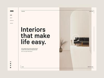 Interior Studio Concept typography product branding simple minimal light design homepage landing page site web concept website interior