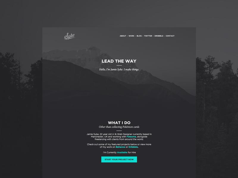 Syke - Personal Website Final Concept portfolio site dark flat typography black simple minimal homepage ui web website