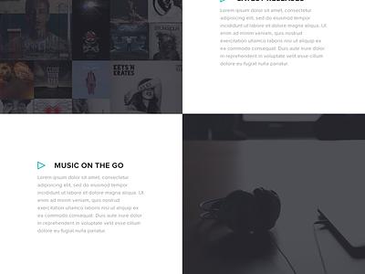 Music Theme Concept flat theme dark typography music blue green minimal simple web