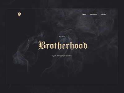 Brotherhood Preview Concept blackletter gothic smoke depth web ux ui medieval gold dark studio agency