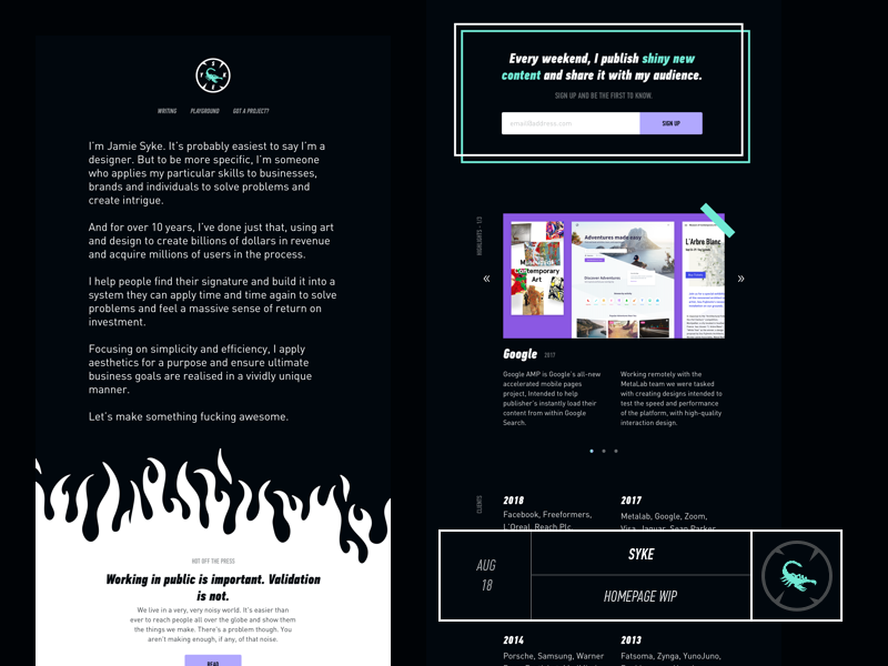 AUG 18: SYKE Preview - Homepage by Jamie Syke | Dribbble