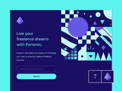 Pyrismic - Pyrismic.com - Now Live! pattern saas startup freelance creative branding logo illustration coming soon announcement productivity web app design dashboard home minimal landing page freelancer product launch