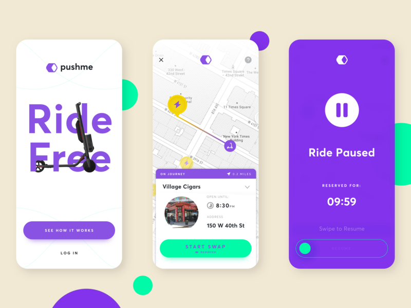 Pushme - Ride Free battery scooter transport ios mobile app simple minimal ui product design