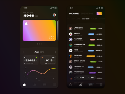 Wallet / Transactions App product simple minimal ui clean design app ios list transactions money finance fintech wallet cards