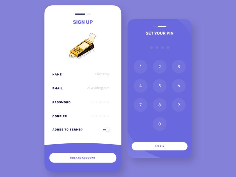 Banking UI Kit - Concept IV - Pt 3 pin sign up ui saving savings money minimal iphone ios investment illustration fintech design branding banking bank app