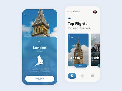 Destinations Flight App minimal ui design iphone ios london paris app guide flight destination city cities travel flights