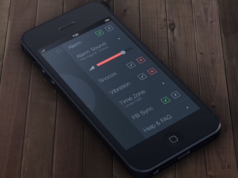 Tick Tock Settings clock alarm flat red blue ios iphone ui simple minimalistic app settings check boxes text radio button slider button
