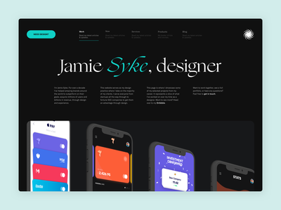 SYKE 2020 - Header Adjustments typography minimal simple web landing page webflow colour logo brand branding personal branding website portfolio personal site