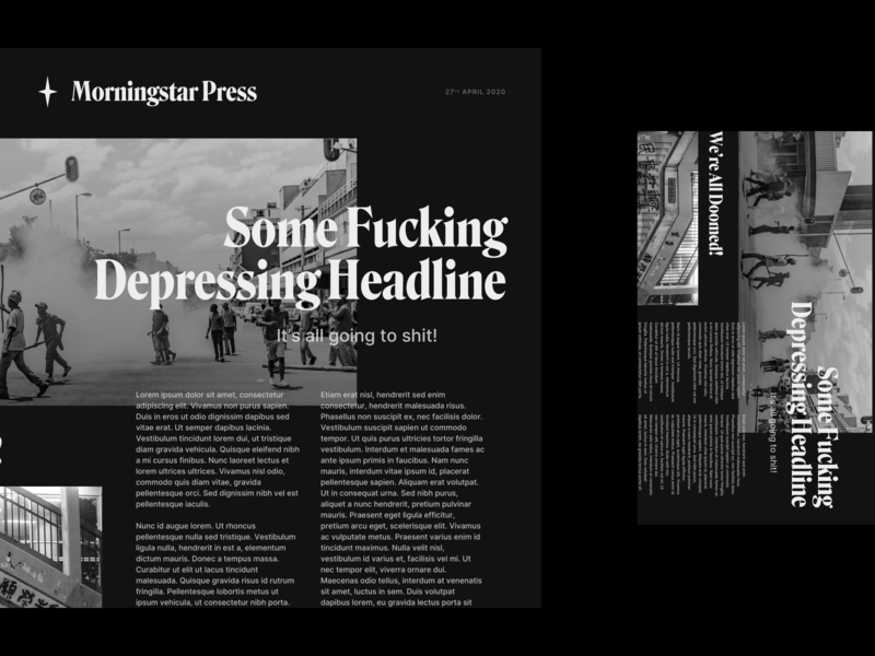 """THE NEWS"" branding simple minimal design layout homepage blog editorial news web design web satire"