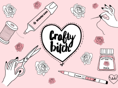 Crafty Bitch pink roses thread illustration drawing ink pens scissors sewing crafts crafty bitch