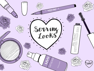 Serving looks lavender lilac purple illustrations illustration makeup cute