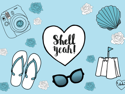 Shell yeah! cute blue shell camera instead polaroid flip flops sandcastles beach illustrator illustration summer