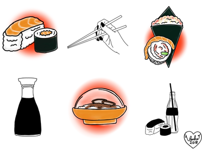 Sushi sheet illustration tattoo sheet tattoo design food sushi