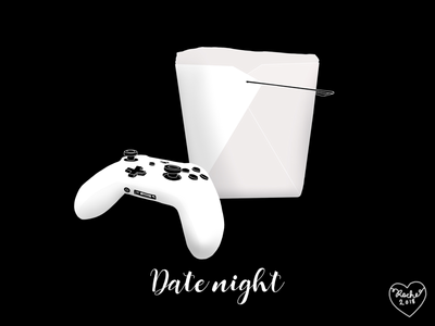 Date night controller xbox outline shading simple illustration food illustrations food takeaway video games gamer illustrator illustration date night