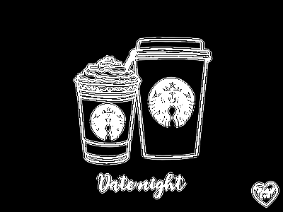 Date Night illustrator outline food illustration illustration starbucks coffee date night