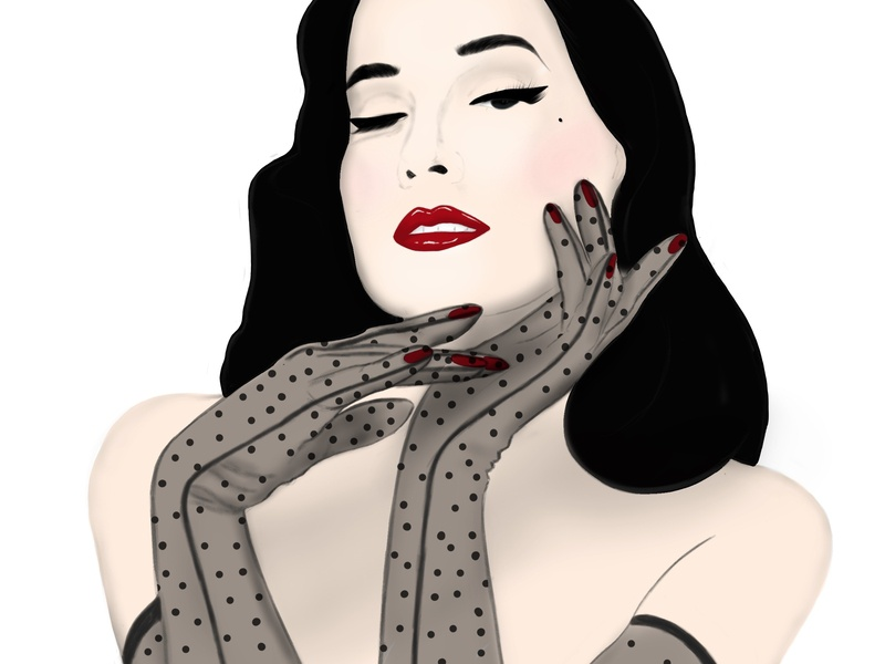 Dita Von Teese procreate app procreate portrait art dita von teese portrait illustration portrait drawing illustrator illustrations illustration