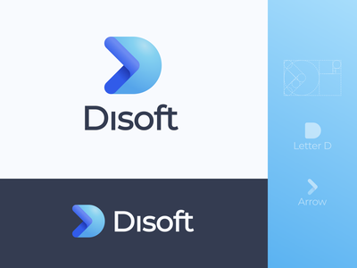 Disoft Logo. D letter + Arrow concept blue brand art vector simple photoshop minimal logotype logodesign logo design logo graphic design graphic clean branding