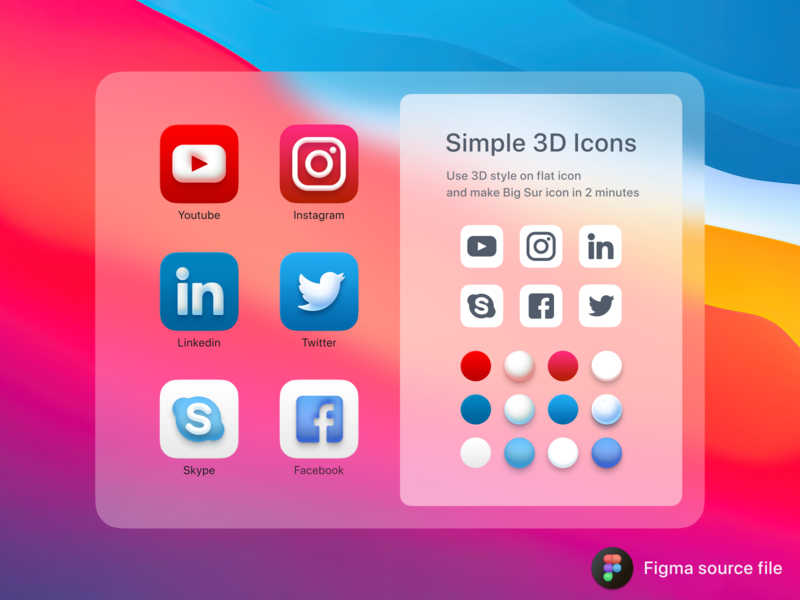 Big Sur style icons in Figma branding ui figma design figma freebie kit ui kit macos icon apple 3d icon vector illustration logo