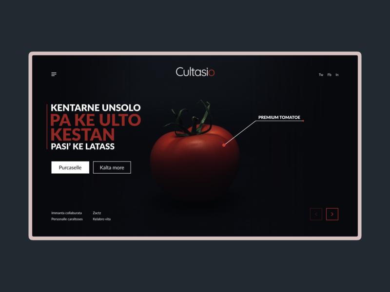 Premium food site. Tomato. vegetarian vegetable vegan food dark background dark web ux tomato design ui