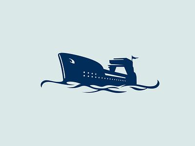 Ship logo ship branding blue