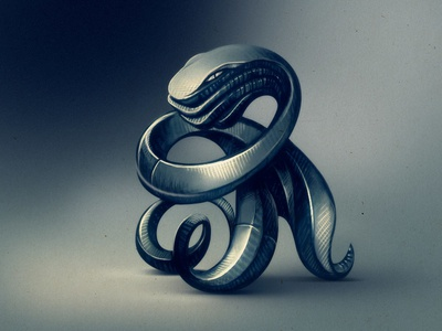 Snake-o-octopus abstract construction sculpture sign snake octopus