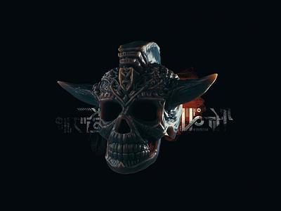 SR-03 skull abstract 3d animation digital art