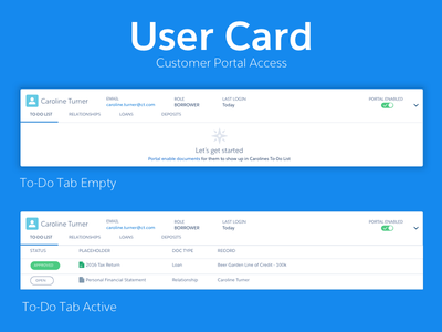User Card summary enabled portal documents status tabs to-do user empty state card
