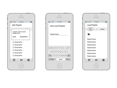 Music Player Wireframes