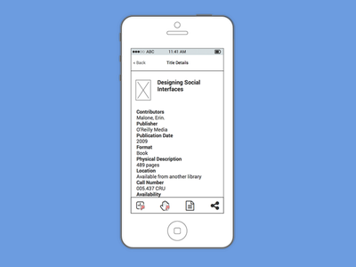 Library Catalog Title Details iOS Wireframe iphone user experience interface io ux ui balsamiq wireframes wireframe