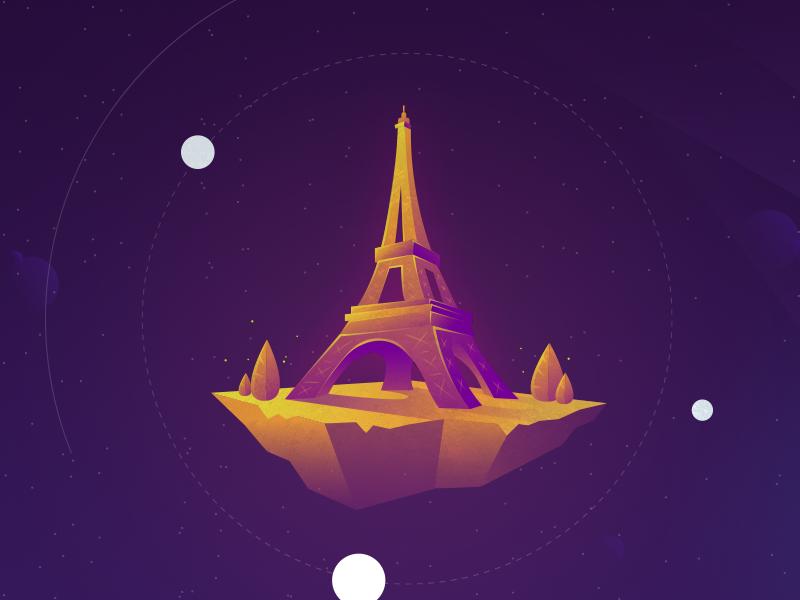 Island of the great Eiffel Tower glow floating stars star space galaxy planet gradients island tower eiffel