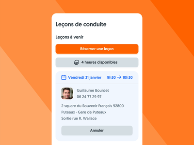 New Driving Lessons Dashboard on mobile mobile app design mobile ui ornikar drive lessons car dashboard app design product design interface design ui design