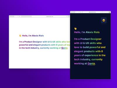 Personal website landing dark mode rainbow interface design ui design ui