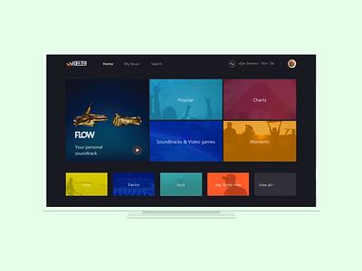 Deezer - Xbox App (2017) interface design xbox ui design ui deezer