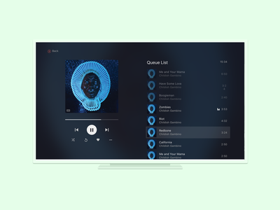 Deezer - Xbox App - Player (2017) player interface design ui design app design xbox deezer