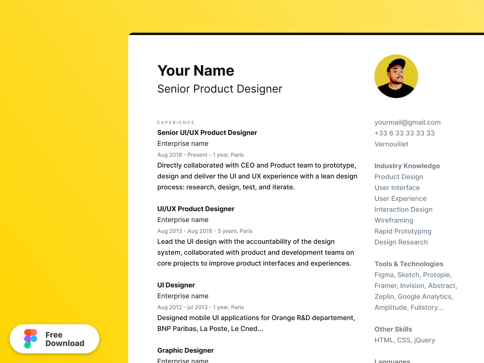 Cv Resume Figma Template By Alexis Riols On Dribbble