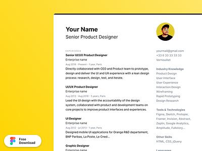 CV / Resume - Figma Template figma template resume cv